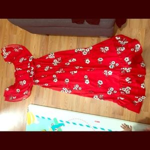 Primark Red Floral Maxi Dress Size US 6 (S/M)